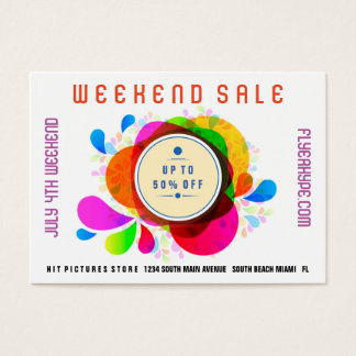 Flyer Hype Badge Store Sale Marketing Colorful V3 Business Card
