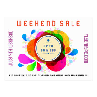 Flyer Hype Badge Store Sale Marketing Colorful V3 Large Business Card