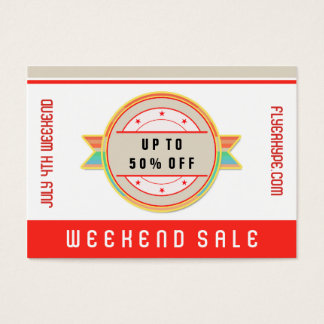Flyer Hype Badge Store Sale Marketing Red V3 Business Card