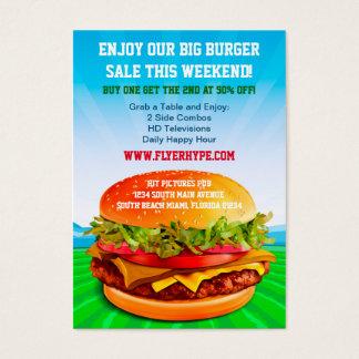 Flyer Hype Burger Cafe Restaurant Eatery Food Business Card