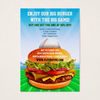 Flyer Hype Burger Cafe Sports Bar Baseball Food Business Card