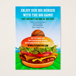 Flyer Hype Burger Cafe Sports Bar Basketball Food Business Card