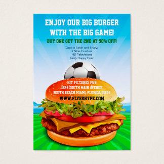 Flyer Hype Burger Cafe Sports Bar Soccer Food Business Card
