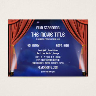 Flyer Hype Curtain Stage Cinema Film Screening Business Card