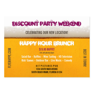 Flyer Hype Tall Drink Sports Bar Club Horizontal Large Business Card