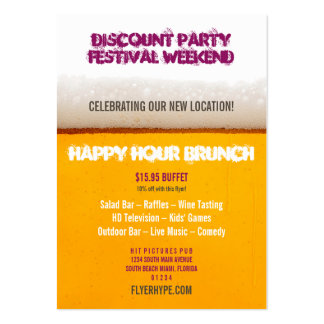 Flyer Hype Tall Drink Sports Bar Party Club Event Large Business Card