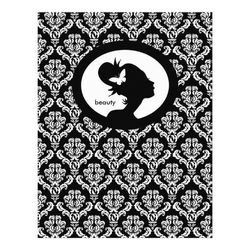 Flyer Salon Butterfly Woman Silhouette Black White
