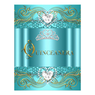 Flyer Teal Blue Silver Gold Quinceanera Birthday