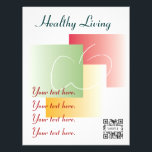 """Flyer Template Healthy Living<br><div class=""""desc"""">We recommend not reducing the size of the QR code on this template. Reducing could render the QR code unscannable. pbSmart™ Codes and pbSmart™ Mobile offer you a smart, easy way to build your business in a fast-paced mobile world. With pbSmart Codes create a custom QR code that links to...</div>"""