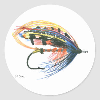 FlyFishing Lure Art Salmon Fly Lure Classic Round Sticker