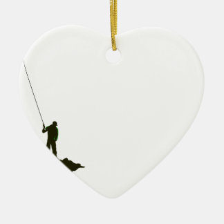 Flyfishing Silhouette Ceramic Ornament