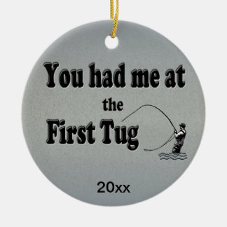 Flyfishing: You had me at the First Tug! Double-Sided Ceramic Round Christmas Ornament