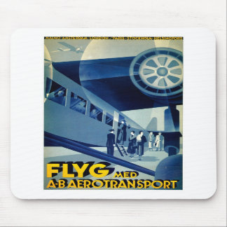 Flyg A-B Aero Transport Vintage Travel Ad Mouse Pads