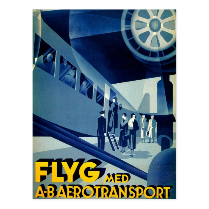 Flyg A-B Aero Transport Vintage Travel Ad Postcard