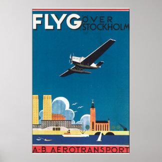 FlyG sobre el poster del viaje del vintage de