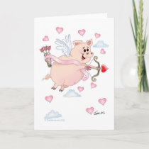 Flyimg Valentine Piggy Card