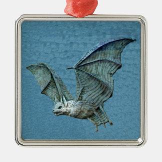 Flying 3D Blue Bat Metal Ornament