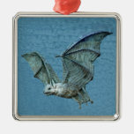 Flying 3D Blue Bat Square Metal Christmas Ornament