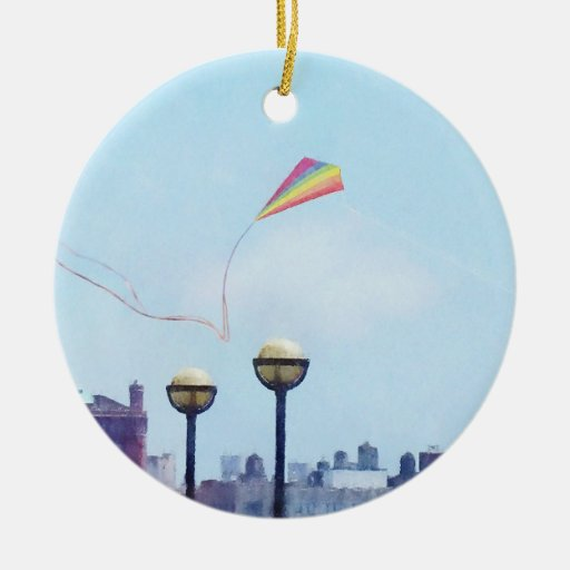 Flying a Kite at Pier A Park Hoboken NJ Double-Sided Ceramic Round Christmas Ornament