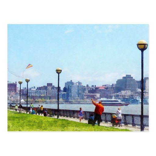 Flying a Kite at Pier A Park Hoboken NJ Post Cards