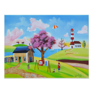 Flying a kite naive folk art painting poster