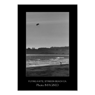 FLYING A KITE, STINSON BEACH CA., US POSTER