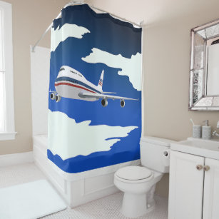 Flying Aircraft Shower Curtain
