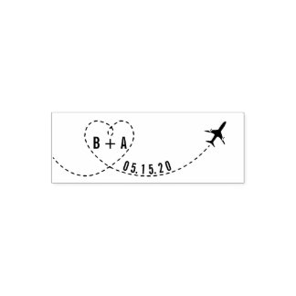 Flying Airplane Initials Wedding Date Personalized Self-inking Stamp