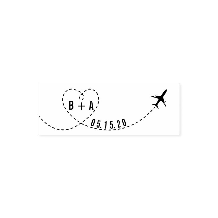 Flying Airplane Initials Wedding Date