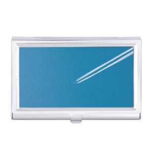 Aircraft business card holders cases zazzle flying airplane on a blue sky background business card holder colourmoves