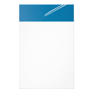 Flying airplane on a blue sky background stationery