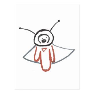flying alien postcard