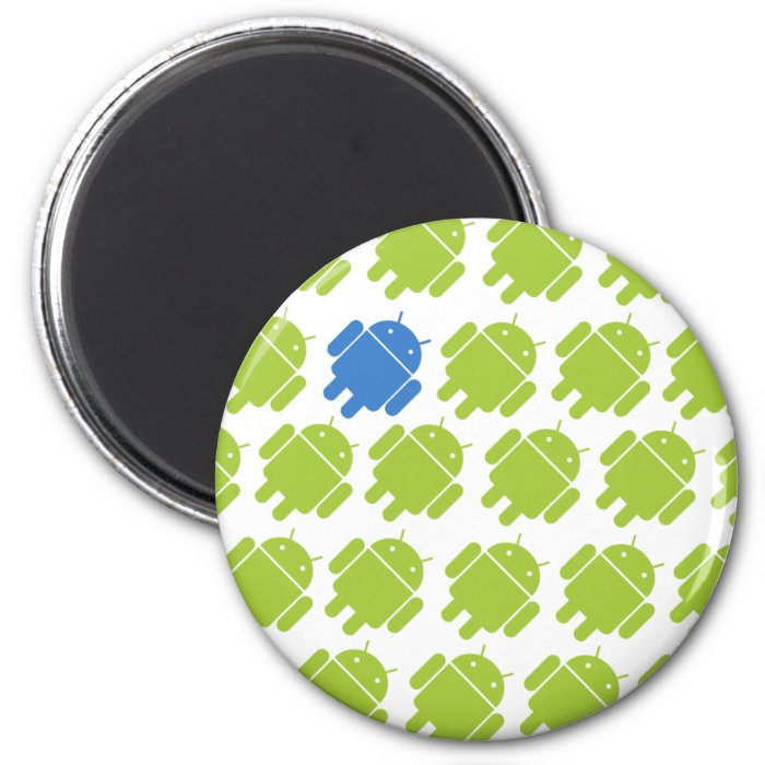 Flying Android Blue 2 Inch Round Magnet