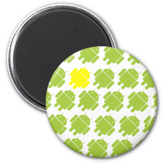 Flying Android Yellow 2 Inch Round Magnet