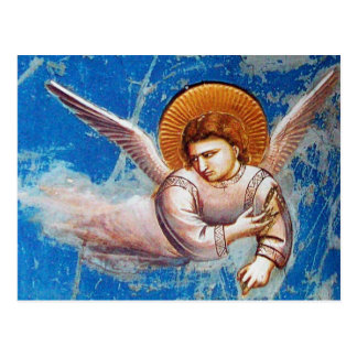 FLYING ANGEL FROM FLIGHT INTO EGYPT, Parchment Postcard