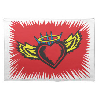 Flying Angel Heart Tattoo Cloth Placemat
