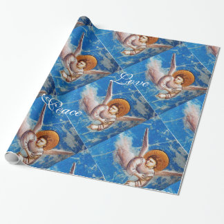FLYING ANGEL IN BLUE CHRISTMAS JOY PEACE LOVE WRAPPING PAPER