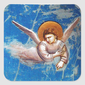 FLYING ANGEL IN BLUE SKY, CHRISTMAS HOLIDAY PARTY SQUARE STICKER
