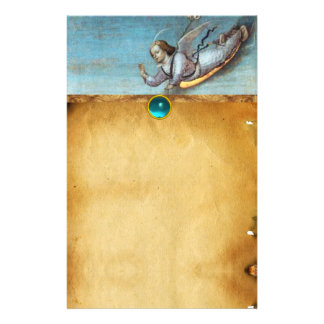 FLYING ANNUNCIATION ANGEL  Parchment Blue Sapphire Stationery