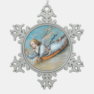 FLYING ANNUNCIATION ANGEL SNOWFLAKE PEWTER CHRISTMAS ORNAMENT
