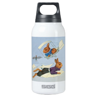 Flying Anthropomorphic Bunny Rabbits - Vintage Thermos Water Bottle