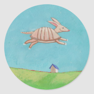 Flying Armadillo original painting fun art Round Stickers
