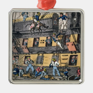 Flying Artillery or A Horse Marine (colour engravi Square Metal Christmas Ornament