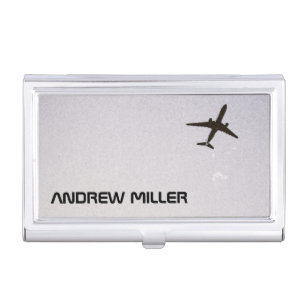 Jet business card holders cases zazzle flying awayhigh altitude airplane personalized business card case colourmoves
