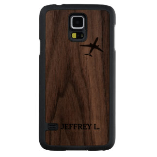 Flying Away | High Altitude Airplane Personalized Carved Walnut Galaxy S5 Case