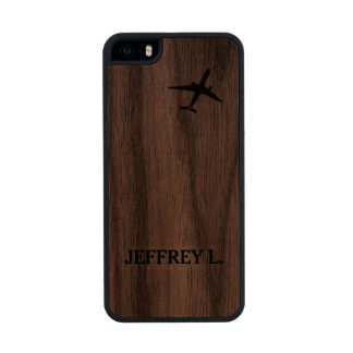 Flying Away | High Altitude Airplane Personalized Carved® Walnut iPhone 5 Case