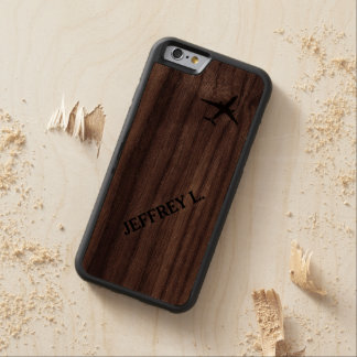 Flying Away | High Altitude Airplane Personalized Carved® Walnut iPhone 6 Bumper