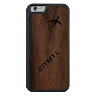 Flying Away | High Altitude Airplane Personalized Carved® Walnut iPhone 6 Bumper Case