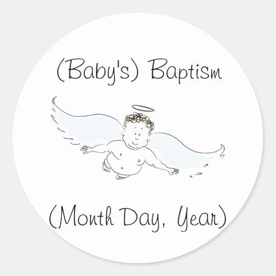 Flying Baby Angel Baptism Invitation Classic Round Sticker