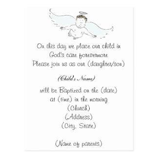 Flying Baby Angel Baptism Invitation Postcard